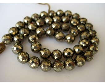 Pyrite Beads, Faceted Beads, Rondelle Beads, 6mm Beads, 45 Pieces, 12 Inch Strand