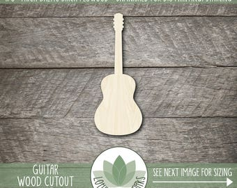 Guitar Wood Shape, Unfinished Wood Guitar Laser Cut Shape, Guitar DIY Craft Supply, Many Size Options, Blank Wood Shapes