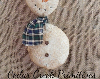 Folk Art Primitive Snowman Dangler