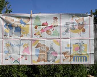 Cat Dog Bunny Boy Girl Fabric Blocks Panel