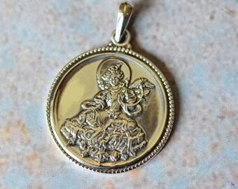 Sterling Silver Tara Pendant,Green Tara,Tibetan Buddhist,Goddess Pendant,Tara Mantra,Tara Amulet,Goddess of Compassion,White Tara,GS15-005a