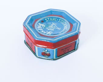 Vintage steel pins, Hirsch brand - German 50s 60s fixing pin needle box by Prym - Sewing needles accessory blue and red tin case