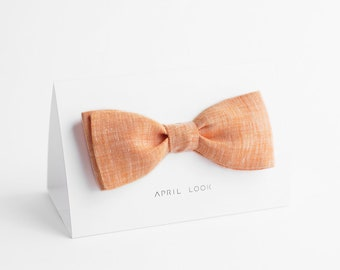 Chambray peach bow tie - MADE TO ORDER