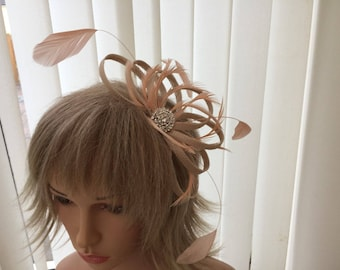 Champaigne & peach  sinamay fascinator, hair accessories, can be custom made to match your outfit