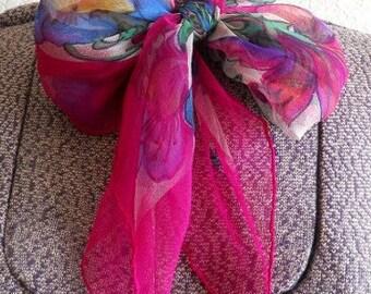 vintage pink floral sheer scarf, hand rolled