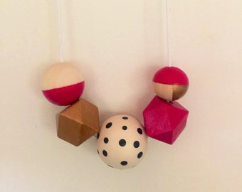 Wooden bead necklace // Geometric colourful chunky necklace // hand painted wooden bead necklace // hot pink and gold