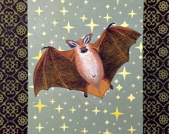 Bat gouache painting on printed star paper 5.75 in x 8 in (14 cm x 20 cm)