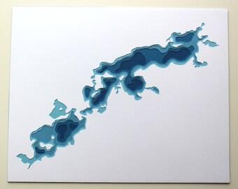 Prior Lakes - original 8 x 10 papercut art
