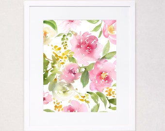 Pink Peony Bouquet Pattern Watercolor Art Print