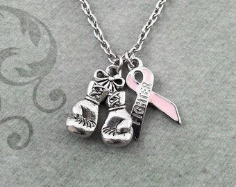 Boxing Gloves Necklace SMALL Ribbon Necklace Fighter Gift Boxing Jewelry Boxer Gift Survivor Gift Fighter Necklace Cancer Survivor Necklace