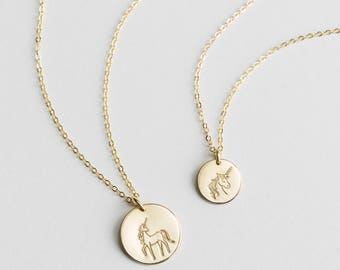 Unicorn Gift for Friends or Fun Sister Gift • Unicorn Necklace, Gold, Silver, Rose Gold • Simple, Dainty...Awesome • LN209 / LN213