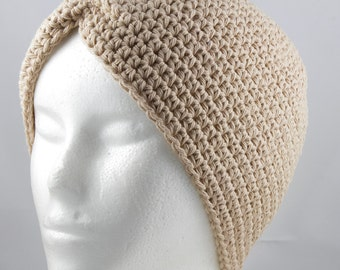 Tan Turban Hat 2 for Cancer Patients - Cancer Hat/Chemo Hat/Cancer Cap/Chemo Cap