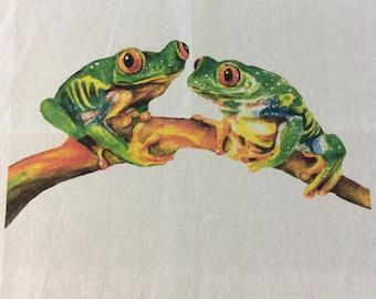 Green Tree Frog Teatowel