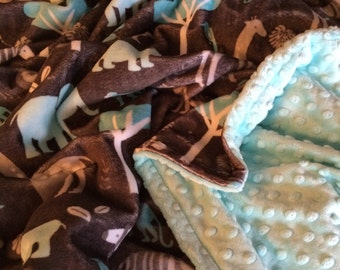 Infant sized double sided minky jungle blanket