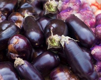 Photo Print - Purple Eggplants, Purple Onions, Purple Food, Food Photos, Kitchen Photos