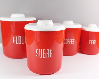 Vintage Loma Plastic Canisters set of four: Tea, Coffee, Sugar and Flour  - Retro Red Kitchen Canisters made in USA