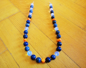 Sodalite necklace with moonstone and coral. Blue necklace. Handmade necklace. Handcrafted necklace. Beaded necklace. Gemstone necklace Greek