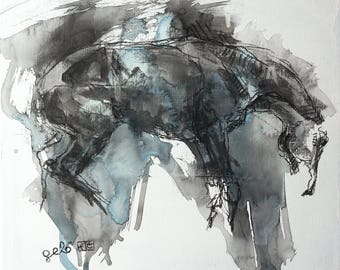 Horse Art, Animal, Modern & Contemporary Original Fine Art, Watercolor, Acrylic and Black Chalk Painting of a Horse