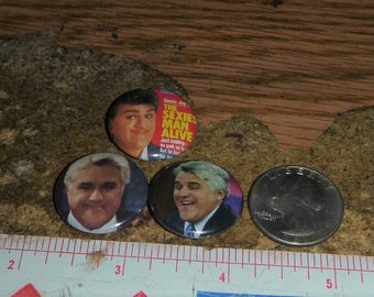 JAY LENO 3 one inch pin back buttons badge set