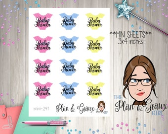 Baby Shower Planner Stickers, Welcome Baby Shower Stickers, Erin Condren Stickers,  Happy Planner, Bullet Journal, MINI 296