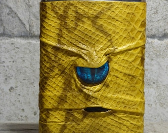 Pocket Flask 8 Ounce Yellow Leather With Face Monster Goth Horror Groomsman Gift One Of A Kind 69