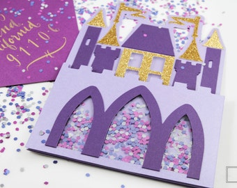 Princess Castle Invitation - Castle Invitation - Birthday - Shaker Card - Greeting Card - Custom Order Available -  10/pack