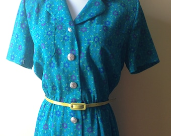 Vintage Teal and Floral Short-sleeve Button-up Dress by Leslie Fay