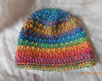 Child crocheted beanie for girl or boy in multi color yarn