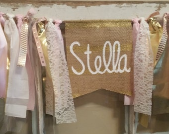 Custom Birthday Banner, Personalized Banner, Pink Gold Banner, Pink Gold Garland, Pink Gold Bunting, Baby Name Banner, Baby Name Sign