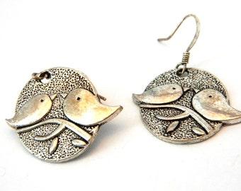 Oval Bird Earrings Silver Color Dangle Earrings