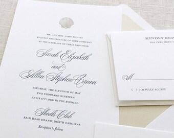 Seashell Wedding Invitations, Shell Wedding Invitations, Beach Wedding Invitations, Destination Wedding Invitations, Tropical Wedding Invite