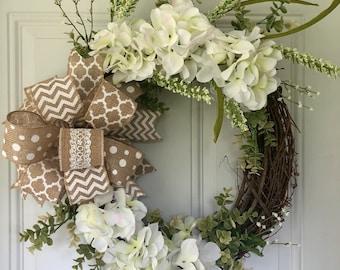 Hydrangea wreath/Hydrangea/Front Door Wreath/Welcome Wreath/Spring wreath/Summer Wreath/Housewarming/Wedding