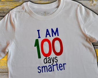 "Child's ""100th day of school"" shirt//100 days smarter"