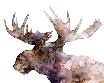 """Moose Silhouette Painting - Print from Original Watercolor Painting, """"The Purple Moose"""", Moose Print, Moose Head, Moose Art"""