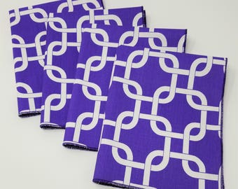 4 Dinner Napkins, Purple Chainlink-Motif Cotton Twill - Set of 4, American Made