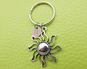 Sun stainless steel Keyring initial keychain