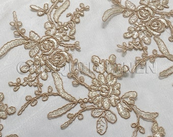 Laylani Lace Fabric in Champagne- Gorgeous Fabric With Floral Embroidery Throughout - Best for Weddings, Bridal Parties, and Events