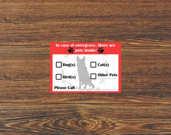 Customized In Case Of Emergency Pet Sign - Instant Download - Emergency - Pet - Fire - Pet Rescue - Pet Rescue Sign - Size 5 x7
