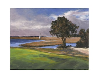 Golf Art. Golf Gift. Oak Marsh Golf Course, Amelia Island, FL, Hole #16. Print of original oil painting.