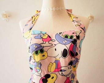 Summer Dress Snoopy n Friends Pale Pink Snoopy Dress cartoon Dress Vintage Retro Pink Sundress 80's Kid Dress