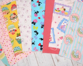 """Girls fabric scrap bundle including Unicorn and strawberry  print 25 cm by 25   cm or 9.6 """" by 9.6""""  set of 8 pieces sc07"""