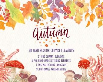 Autumn watercolor clipart set