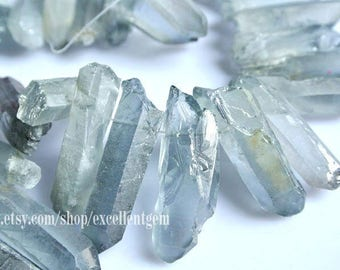 Titanium Points crystal, rock crystal quartz, Titanium rock crystal points, Gray blue Titanium rock points drilled