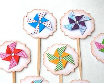 Colorful Pinwheel Cupcake Toppers. Pinwheel Birthday. Paper Pinwheels. Pinwheel Food Picks. Bling Party Decor. Summer Party. Girly Pinwheel.