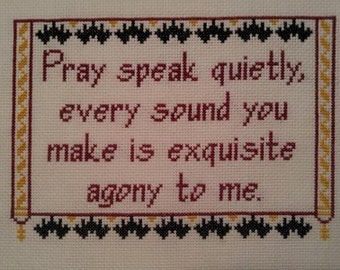 Vincent Price Cross-stitch Pattern Pray Speak Quietly