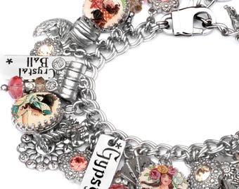 Fortune Teller Charm Bracelet, Silver Charm Bracelet, Gypsy Charm Jewelry, Celtic Jewelry, Halloween Bracelet