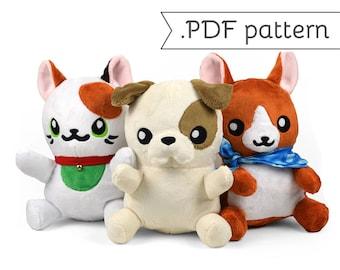 Pudgy Pet Plush Sewing Pattern .pdf Tutorial Cat Kitty Dog Puppy Maneki Neko