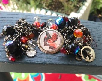 Vintage Altered Art Halloween Charm Bracelet Halloween Jewelry