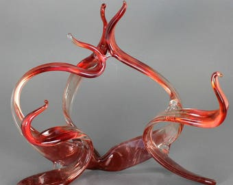 Contemporary Art Sculpture - Abstract - Red Glass - Interior Design - Home Decor