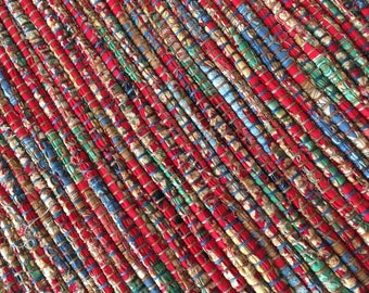 """Hand Woven Table Runner - County Fair Red - 15"""" x 32"""""""